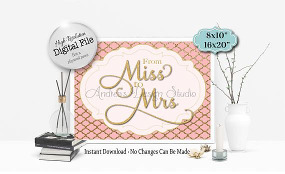 From Miss To Mrs Sign Bridal Shower Decor Bridal Shower