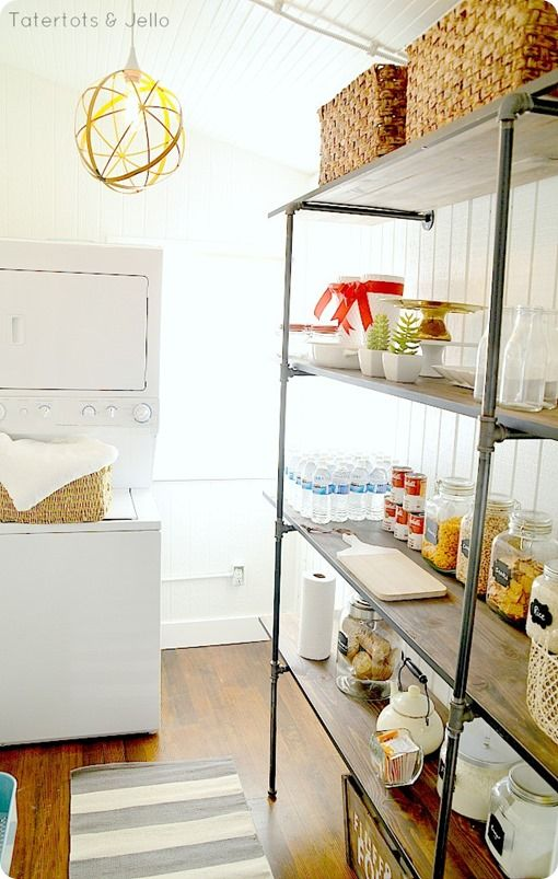 Industrial Wood and Metal Pantry Shelving