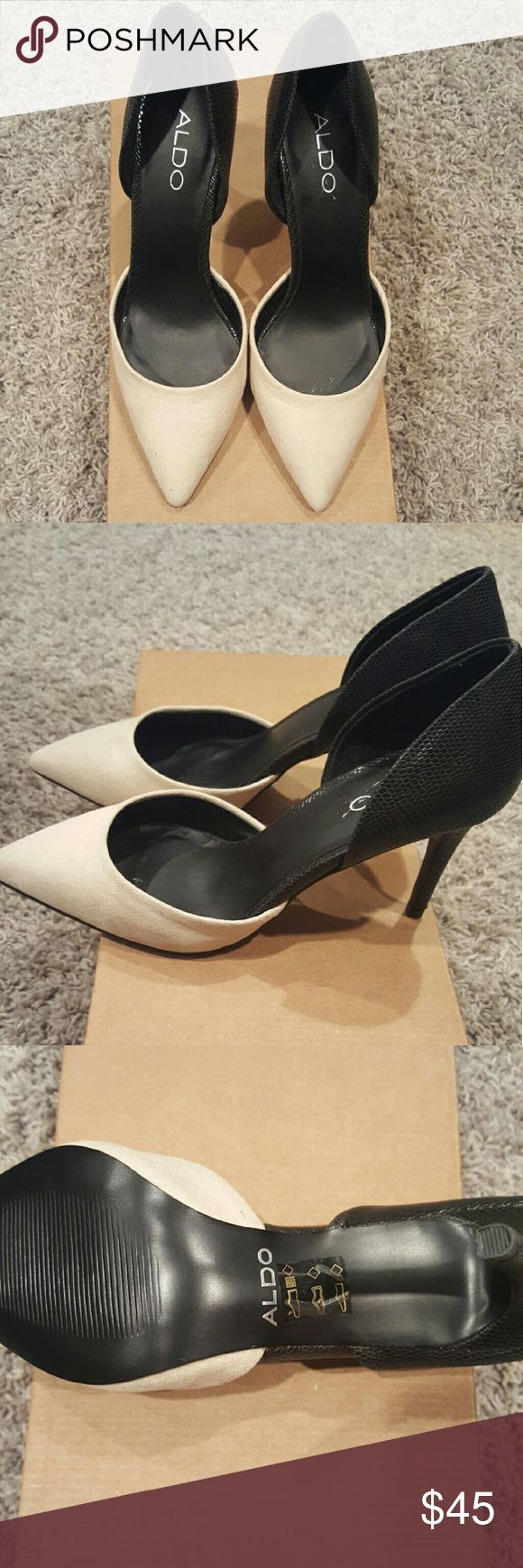 1 hour reduced shipping! Aldo d'orsay pump NWOT Half tan suede and black heels ALDO Shoes