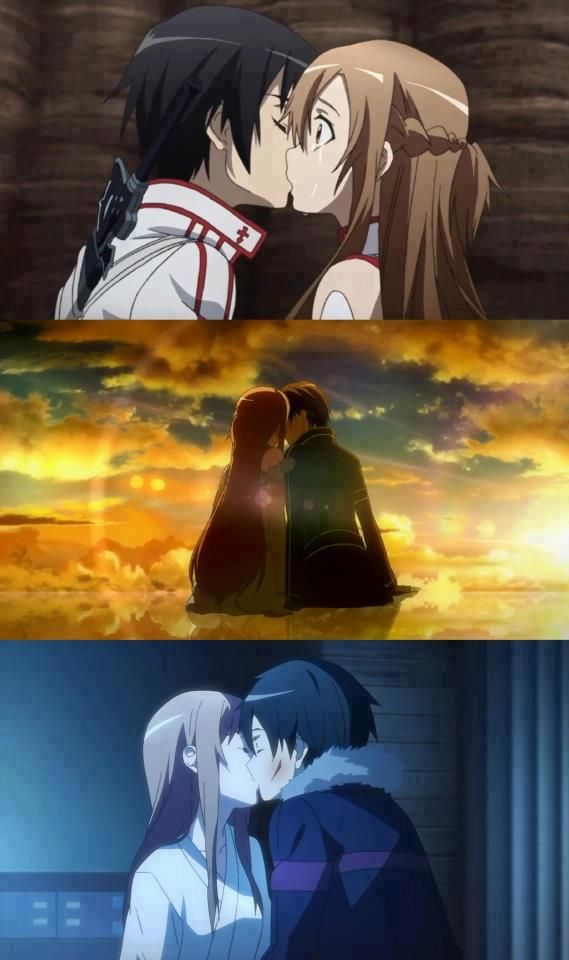 Asuna x Kirito First kiss and last kiss in game world(SAO), and first kiss in real world! these two are so cute omg x3