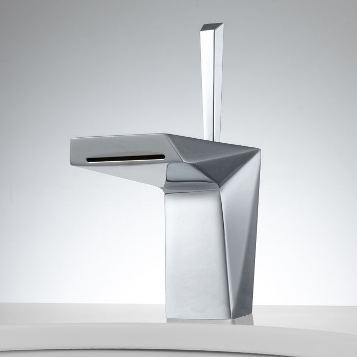 Crystalline Single Hole Lavatory Faucet With Pop Up Drain   Chrome