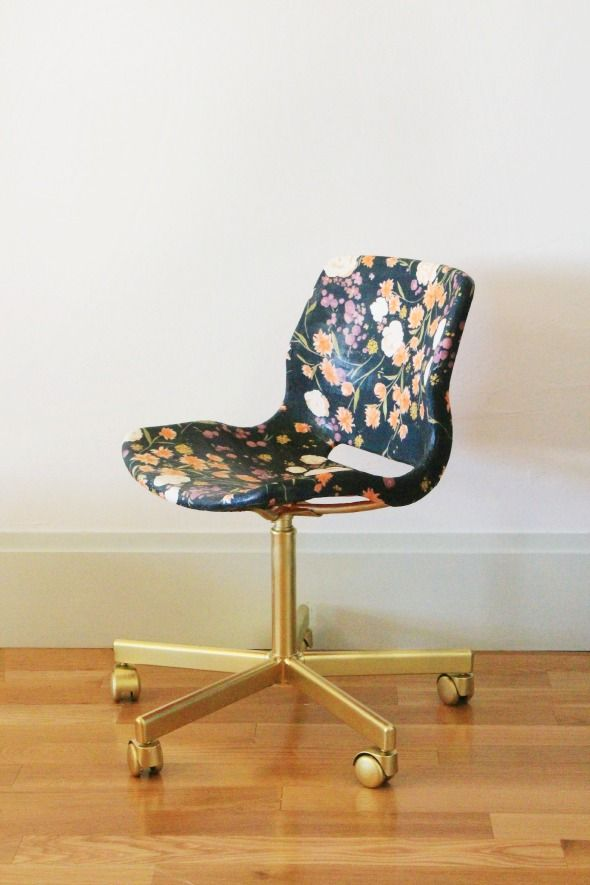 Fabric - decoupaged IKEA chair from Little Green Notebook, love!