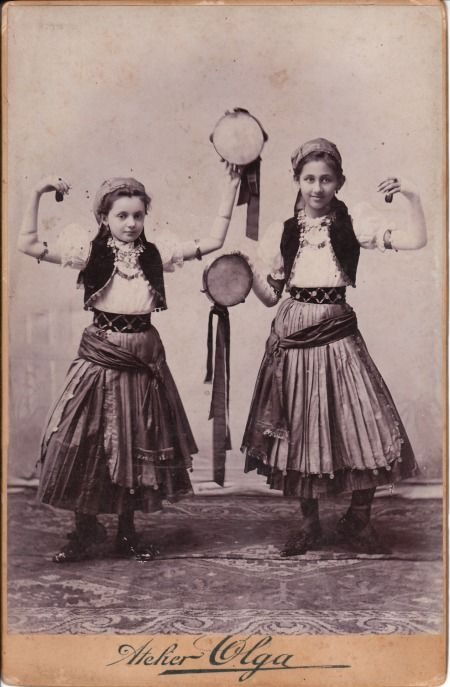 "Vintage photograph of young gypsy (Roma) dancers with tambourines <<<< ""G*psy"" is a racial slur"