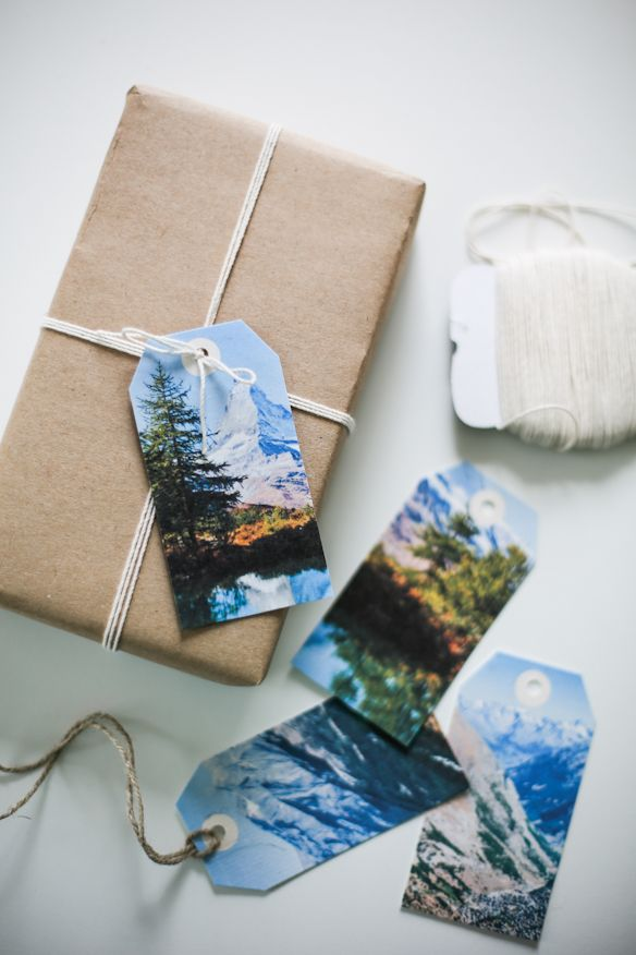 Use a memorable photo for gift tags. - Fellow Fellow {Freebies} Colour Vintage Mountain Tags