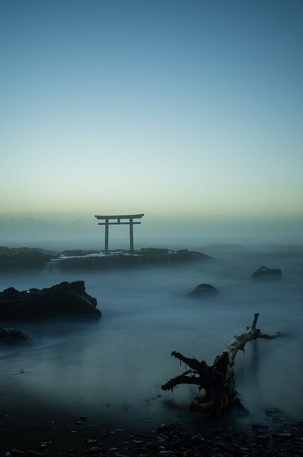 Fog in Torii (Traditional Japanese gate at shrine) , Japan