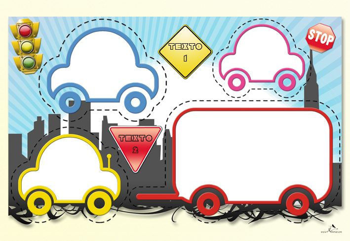 Plantilla Child 29x42 para la Creación de Foto Libros - Imagen Fondo Ciudad con señales de tráfico y coches