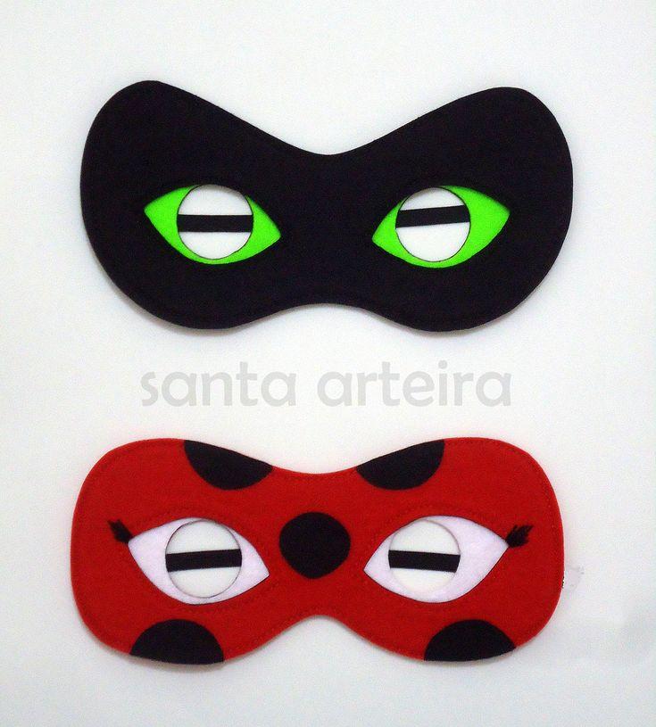 Miraculous Mascara Em Feltro Ladybug E Cat Noir
