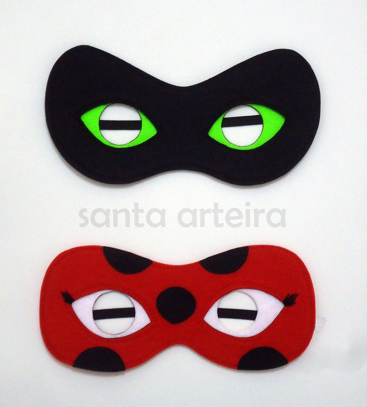 Miraculous Mascara em feltro Ladybug e Cat Noir #miraculous #ladybug #catnoir