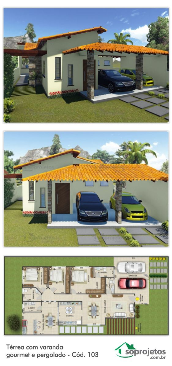 Este projeto de casa possui uma ampla área coberta que serve de garagem para 2…