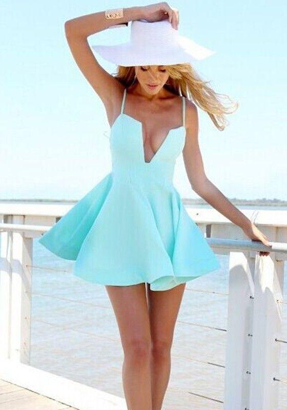 Green Plain Ruffle Condole Belt Plunging Neckline Dress - Mini Dresses - Dresses