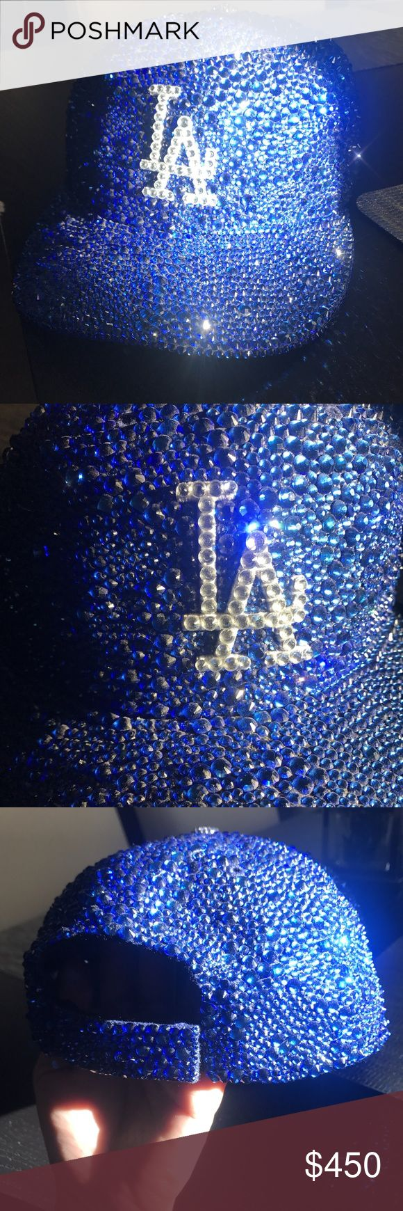 LA Dodgers - AdjustableSwarovski Encrusted Cap LA Dodgers Adjustable Baseball Cap  Cobalt Blue Swarovski Crystal Encrusted throughout by Lyfe of Bling!!   (Used twice)  Cleaned and ready for resale!  This one of a kind Dodgers Blue cap is perfect for the game and is Adjustable, 100% Authentic, and Encrusted by hand  Original Price $600, dropping price & asking $450, as it is used  SERIOUS INQUIRIES ONLY, this is a one of a kind piece done by hand LA DODGERS Accessories Hats