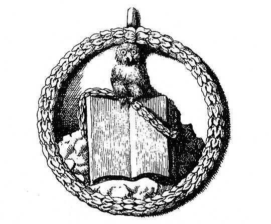 original insignia of the Bavarian Illuminati:  the owl of Minerva, symbolising wisdom, on top of an opened book  via Darkness Over All: John Robison and the Birth of the Illuminati Conspiracy | The Public Domain Review