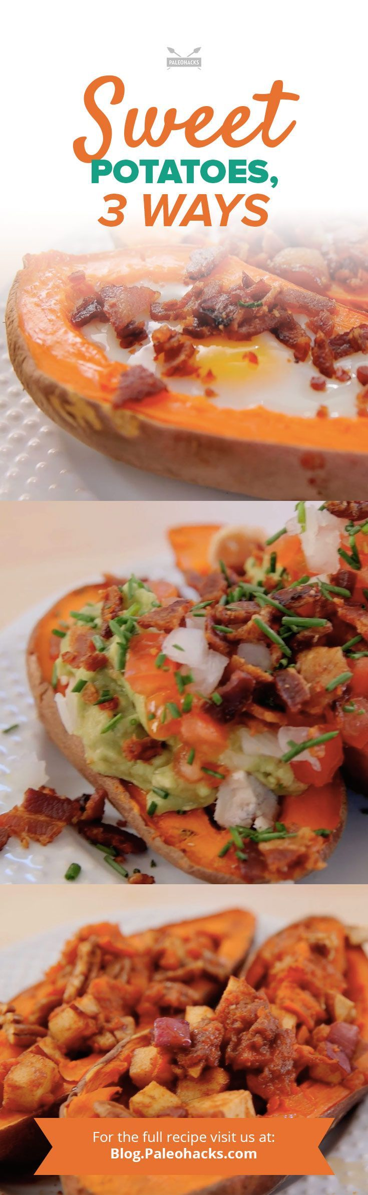 The best thing about sweet potatoes? You can stuff them with all sorts of fun flavor combinations – and use the skins as the bowl. Here are three easy ways to give the old fashioned twice-baked potato a Paleo-inspired makeover. For the full recipes visit us here: http://paleo.co/sweetpotatoesrcp