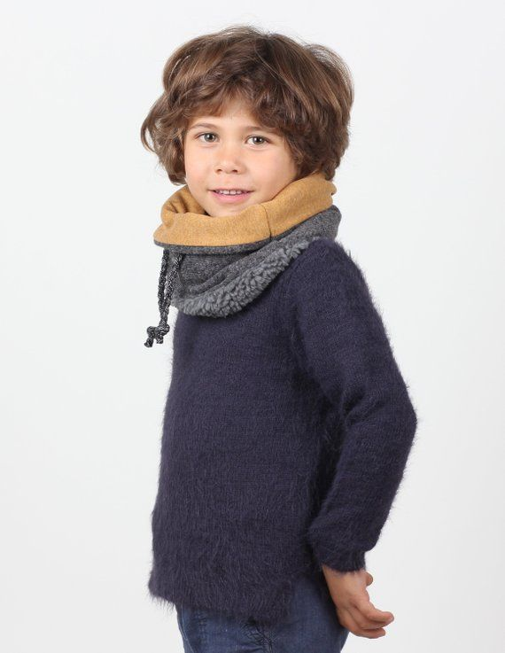 Kids Winter Scarf Or Snood In Chunky Wool Lined With Soft Cotton And