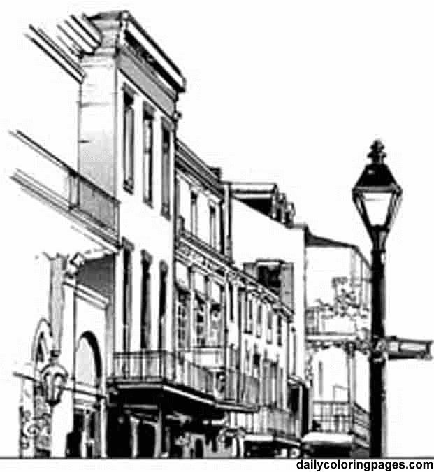 http dailycoloringpages com images louisiana french quarter rh pinterest com Bourbon Street Clip Art new orleans french quarter clip art