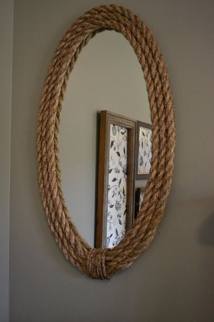 """Frame"" a cheap IKEA mirror with textured rope: Rope Mirror, Ropes Mirror, Decor Ideas, Beaches House, Seasons, Ikea Mirror, Diy Ropes, Frames Mirror, Powder Rooms"