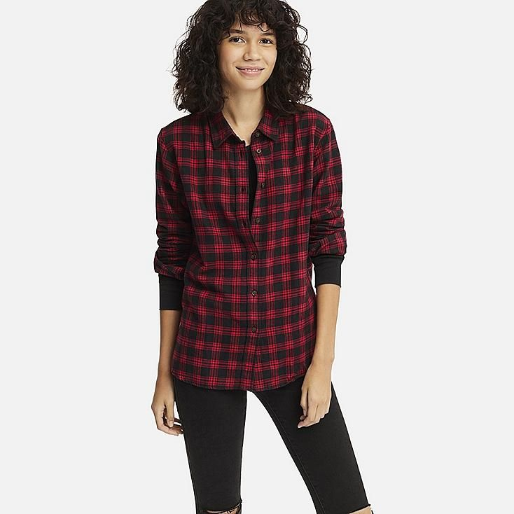 8cf2d202bd07a WOMEN FLANNEL CHECKED LONG-SLEEVE SHIRT, RED, large | Style | Women ...