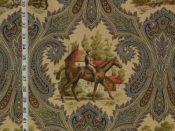 Horse jockey fabric paisley blue toile from Brick House Fabric: Novelty Fabric  This fabric would make a beautiful whole cloth quilt or comforter.