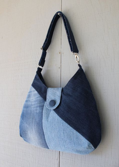 Denim Patchwork Handbag with Adjustable Strap Turning Handbag into a Crossbody, Two Interior Pockets, Soft Cotton Floral Lining - 452002200 by AllintheJeans on Etsy