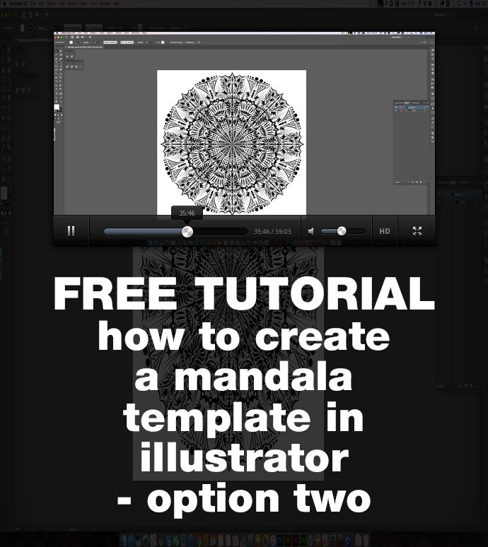A free tutorial showing how to use illustrator to create a template for mandala designs, with repeat sections.