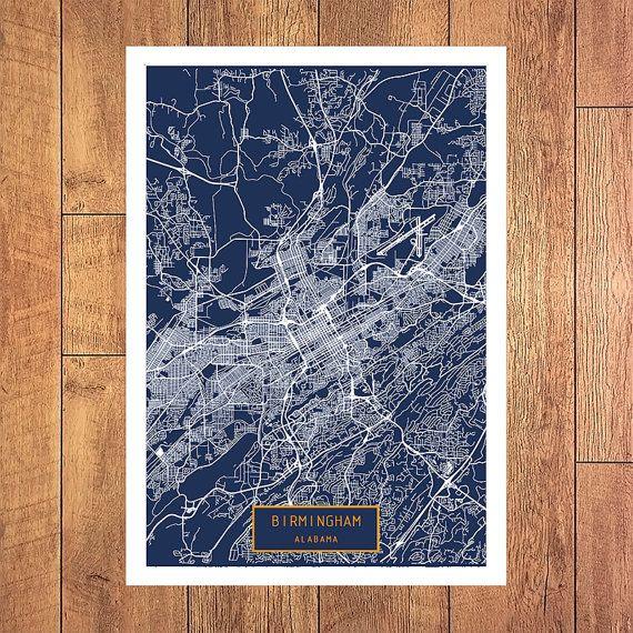 BIRMINGHAM Alabama City Map Birmingham Alabama by JackTravelMap