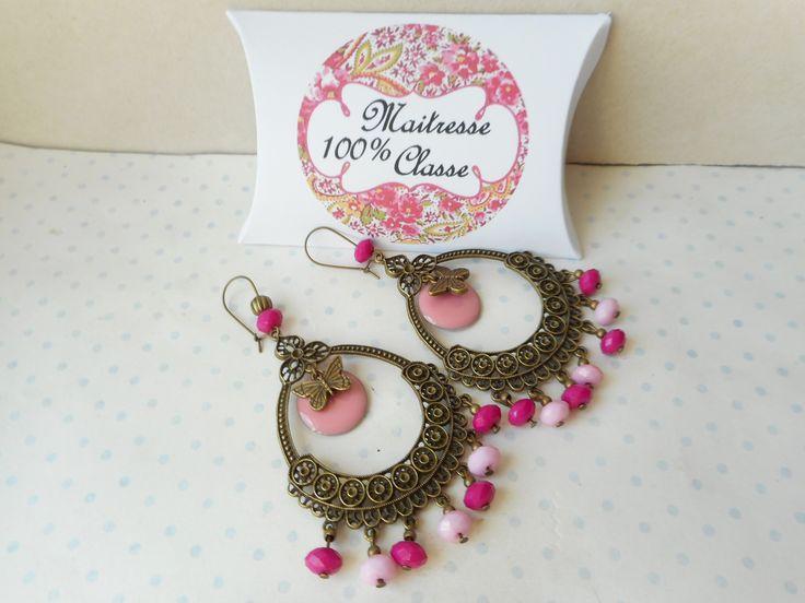"""Boucles d'oreille N°61 + boite cadeau """"maitresse 100% classe"""" - bronze, rose, fushia, papillon, ethnique : Boucles d'oreille par miss-coopecoll"""