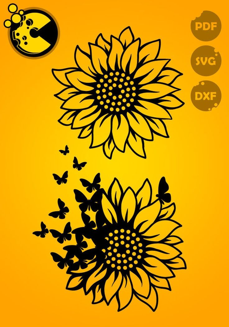 2 designs SVG / PDF / DXF files Sunflower with butterflies ...