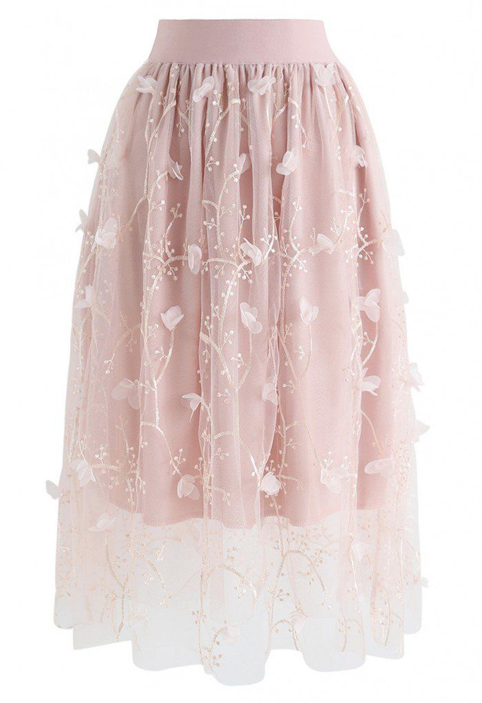 4dc63b641c Sprightly Garden Double-Layered Embroidered Mesh Tulle Skirt in Pink - NEW  ARRIVALS - Retro, Indie and Unique Fashion | skirt collection in 2019 |  Skirts, ...