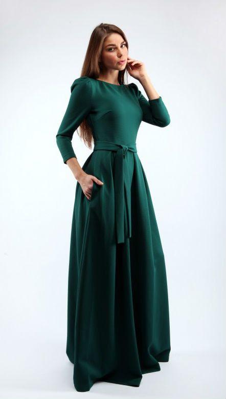 Maxi dress woman Warm winter dress Dress with belt long sleeves Long dress…
