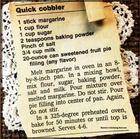 Quick Cobbler... doesn't get any easier than this!