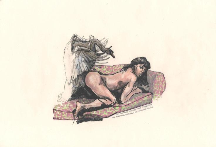 Leda and the Swan. pen on tracing paper over crayon on paper.