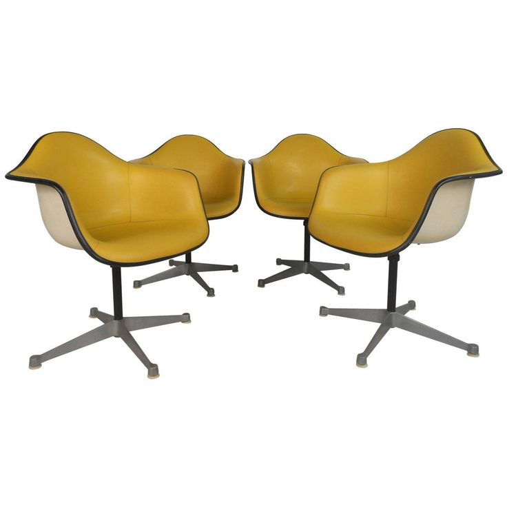 Charles Eames for Herman Miller Bucket Chairs | From a unique collection of antique and modern swivel chairs at https://www.1stdibs.com/furniture/seating/swivel-chairs/