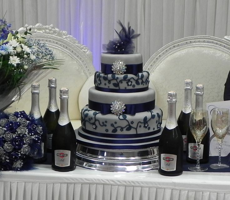 Blue And Silver Wedding Cakes | tier wedding cake was made to compliment the bride's navy and silver ...