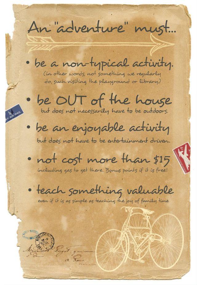 "For the ""An adventure a week"" challenge: Adventureguidelines, Kids Adventure, Week Ideas, Kids Education"