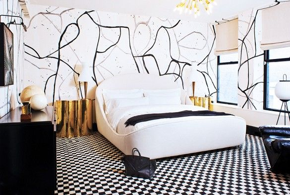 """White patterned bedroom. Find balance. """"Have an eye for symmetry. There should always be a hierarchy of elements within the space. Even the most maximalist rooms should possess a cohesive dialogue with well-balanced, thoughtful dimensions."""" – Kelly Wearstler"""
