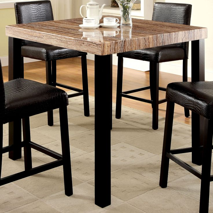 Furniture of America Dymen Contemporary Faux Marble Top Black Counter Height Dining Table (Black)