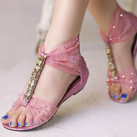 Cute Pink Flat Boho Beach Sumptuous pink tulle shoes encrusted rhinestone