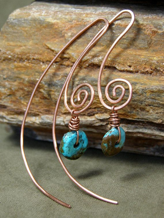 Turquoise Earrings Hoop Earrings Large by StoneWearDesigns