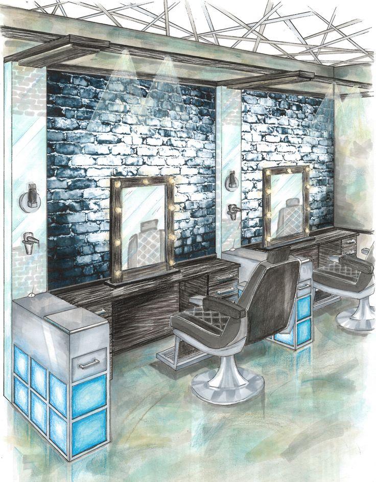 Project: June Exam - Barber Shop Presentation: Perspective Drawing Student: Megan Laughton