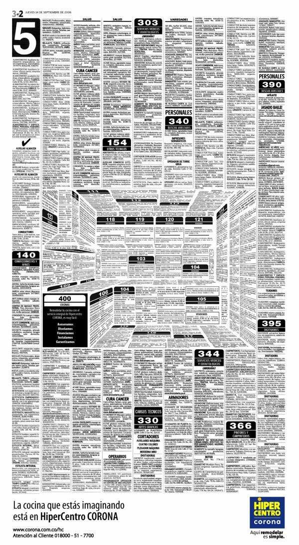 A newspaper, a kitchen advert (by Felipe Salazar)