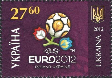 #877 Ukraine - 2012 UEFA European Soccer Championships, Flower and Soccer Ball, Single (MNH)