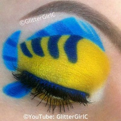 The Little Mermaid Flounder-inspired makeup -- how AMAZING is this?
