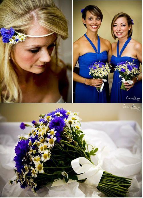 Cornflower bouquet and headband... great ideas!