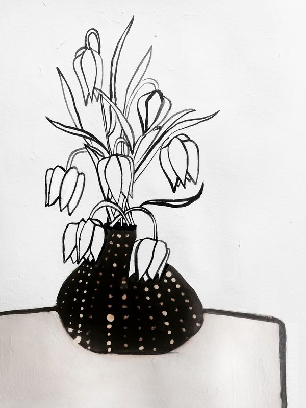 Flowers in Black Vase by Ruti Shaashua on Artfully Walls