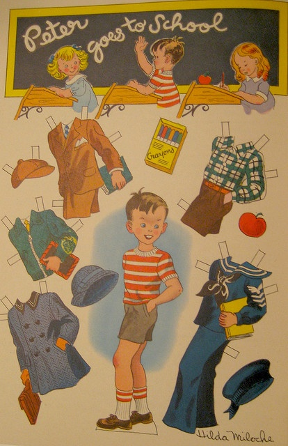 (⑅ ॣ•͈ᴗ•͈ ॣ)♡                                                             ✄Paper Doll Peter Goes to School by Pennelainer, via Flickr