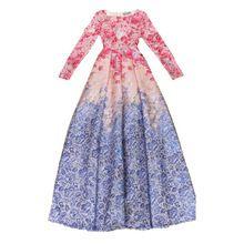 VYSOKÁ KVALITA Nejnovější 2015 Runway Maxi dámské šaty s dlouhým rukávem Sladké Květinové Tištěné celebrity strana plesové šaty Dlouhé šaty 50 (Čína (pevninská část))
