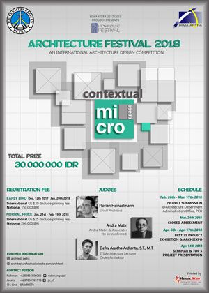 #InternationalCompetition #ArchitectureCompetition #ArchFest2018 #UKPetra #Surabaya Architecture Festival 2018 International Architecture Design Competition  DEADLINE: March 17th 2018  http://instuco.com/international-student-competition.php?title=architecture-festival-2018-international-architecture-design-competition