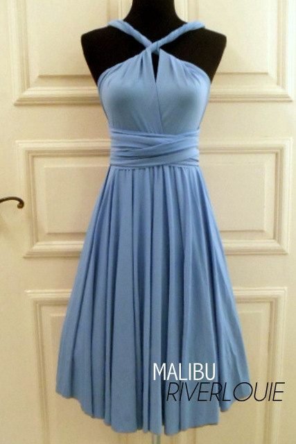 This one is only $30 and comes in other colors. Convertible Multiway Bridesmaids Wedding Maternity Prom Dress malibu blue