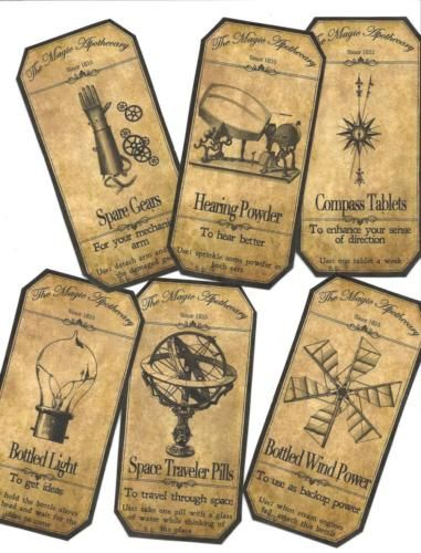 12-Vintage-look-LABELS-Halloween-Apothecary-primitive-labels-Steampunk