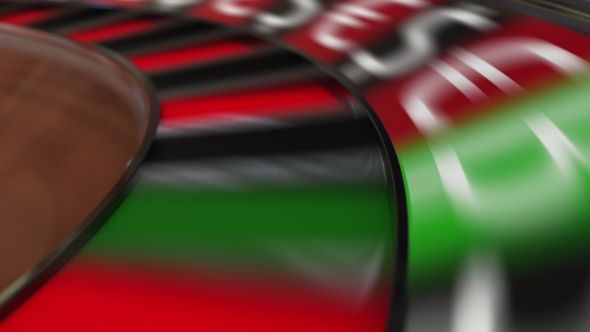 Casino Roulette Wheel Hits Bitcoin BTC Sign and Different Currency Symbols